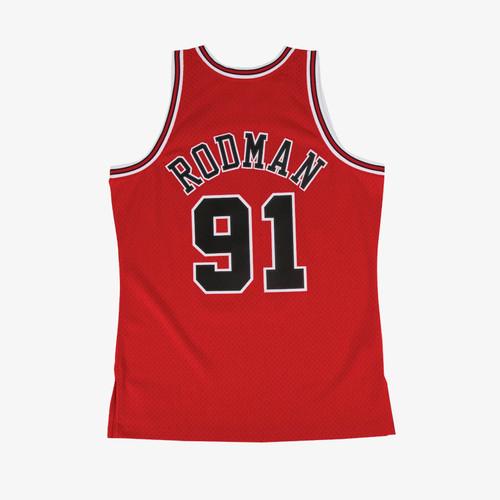 Dennis Rodman Bulls red jersey back