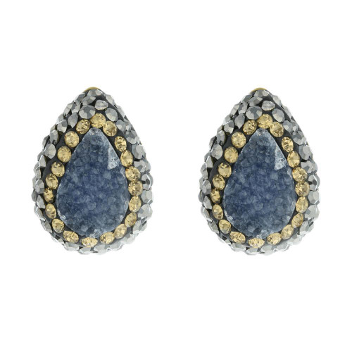 Turkish Druzy Blue Gemstone Studs