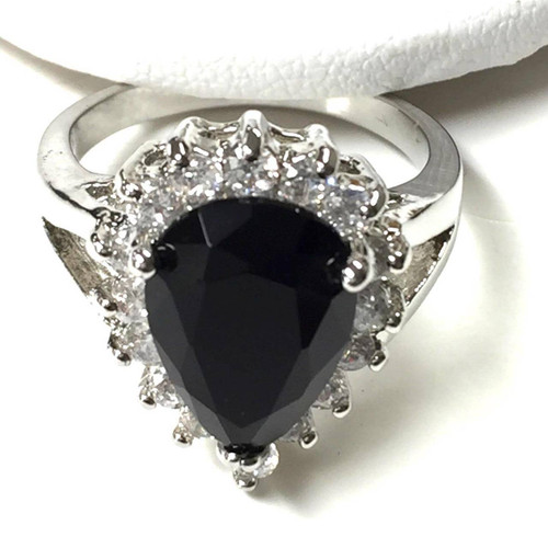 Ice Queen Black Crystal Ring