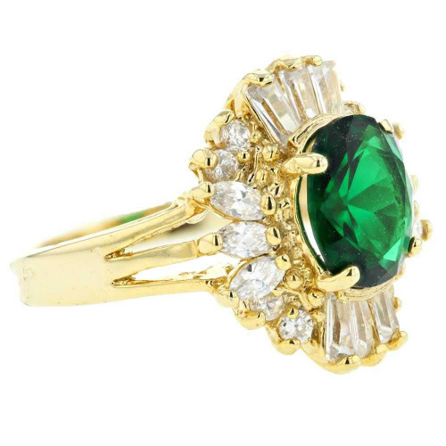 Green Crystal Solitaire with Accents Ring Size 7
