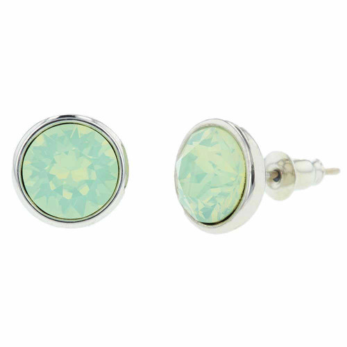 Opalite Bermuda Green Crystal Rhodium Earrings