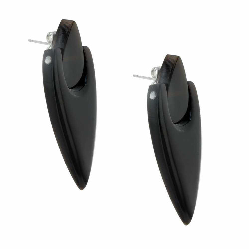 Sleek Black Pointy Earrings