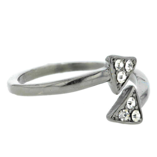 Black Chrome Double Arrow Ring