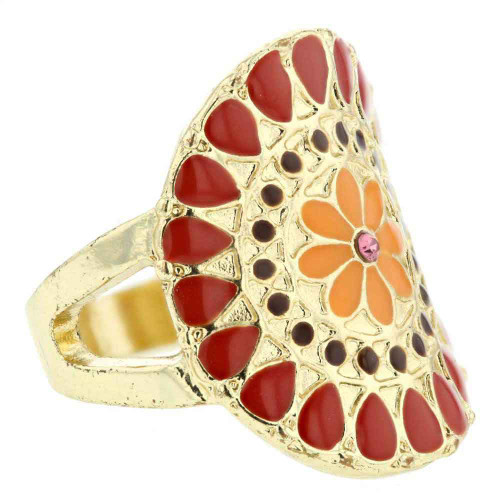 Psychedelic Round Flower Ring