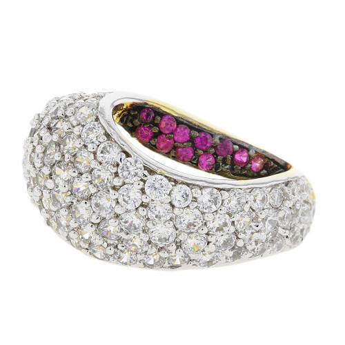 Gold Plated Red and White CZ Statement Ring