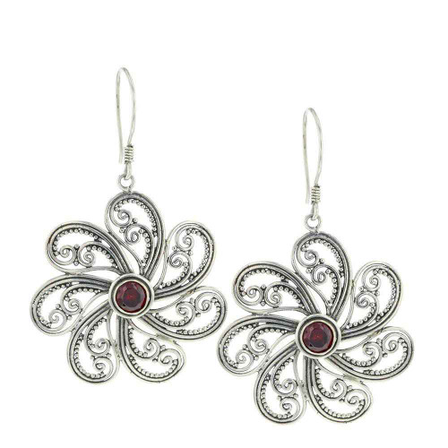 Bali Garnet Primrose Earrings