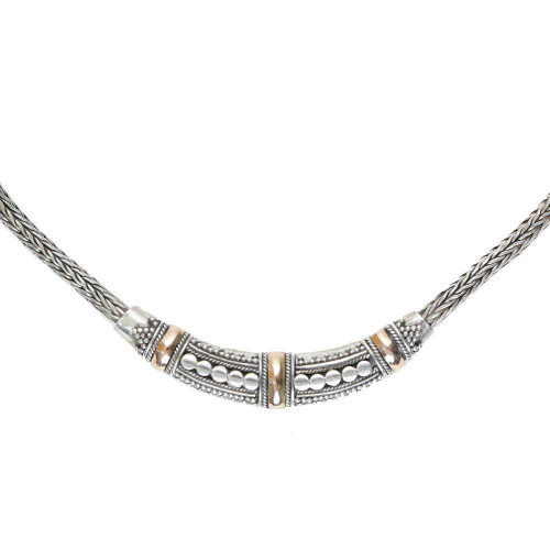Silver Balinese Necklace 18k Gold Accent