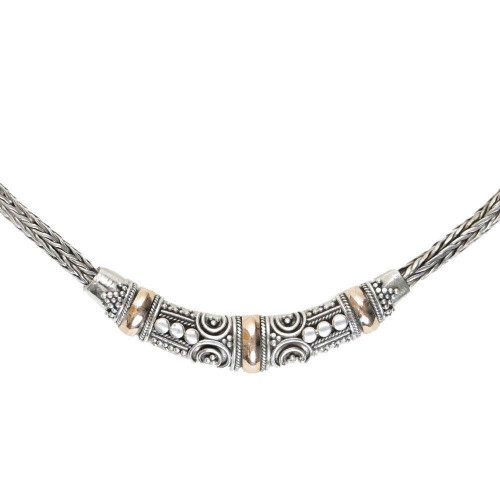 Balinese Sunlit Silver Necklace 18k Gold Accent