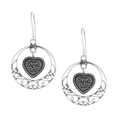 Silver Crescent Heart Earrings