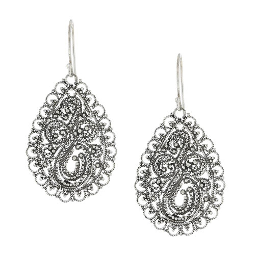 Filigree Harmony Silver Drop Earrings