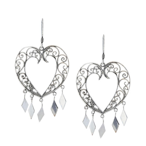 925 Silver Bali Heart Chandelier Earrings