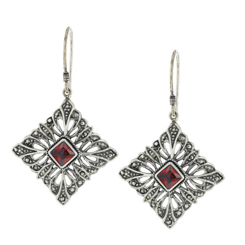 925 Silver Bali Diamond Shape Earrings