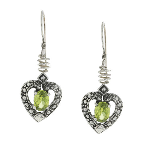 925 Silver Bali Green Heart Peridot Earrings