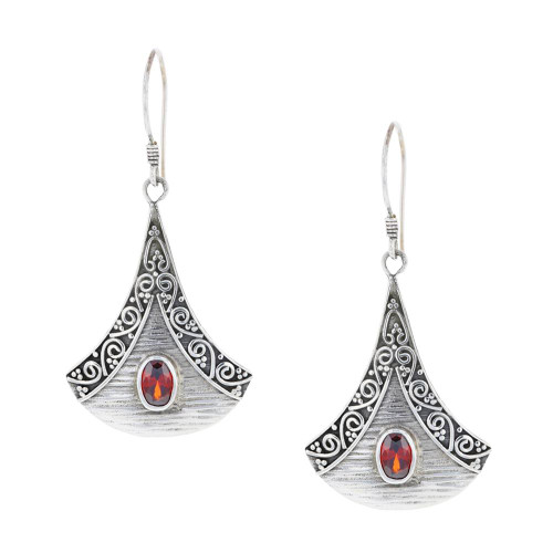 925 Silver Bali Crimson Splendor Earrings