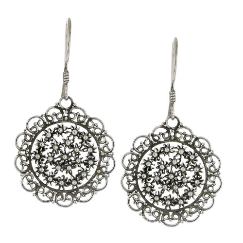 925 Silver Bali Flower Cluster Earrings Restock