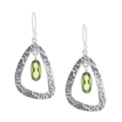925 Silver Bali Green Peridot Earrings