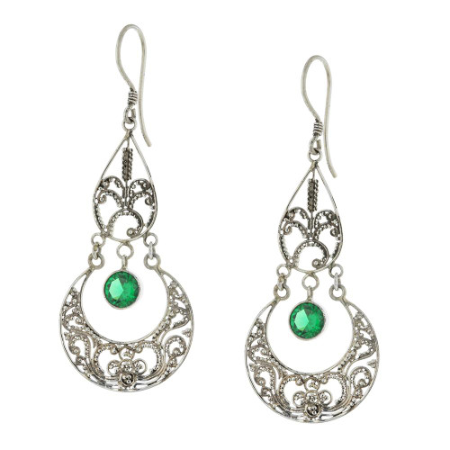 925 Silver Bali Green Imperial Earrings