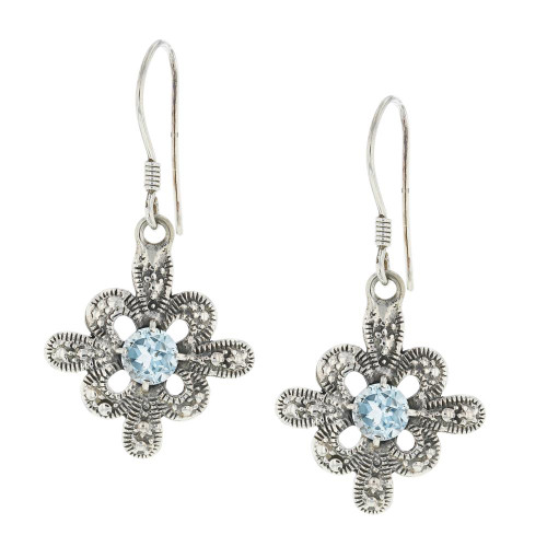 925 Silver Bali Cerulean Iris Earrings
