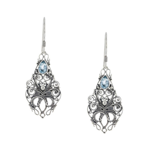 Bali 925 Silver Sky Blue Topaz Mystic Earrings
