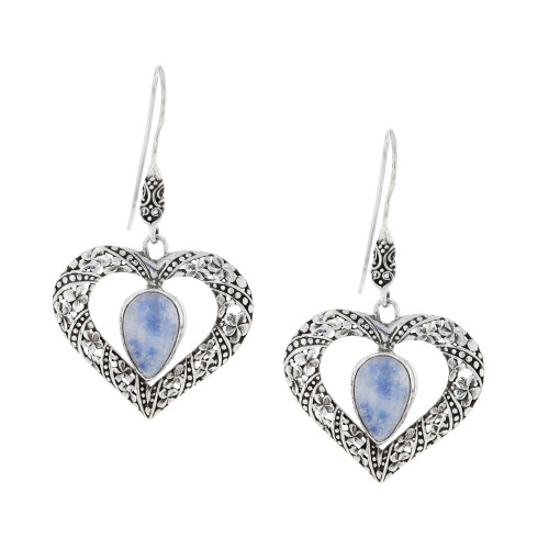 Bali 925 Silver Moonstone Heart Earrings