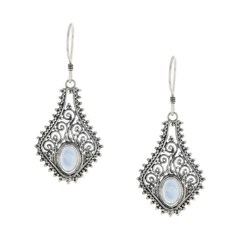 Bali 925 Silver Moonstone Wish Earrings Handmade