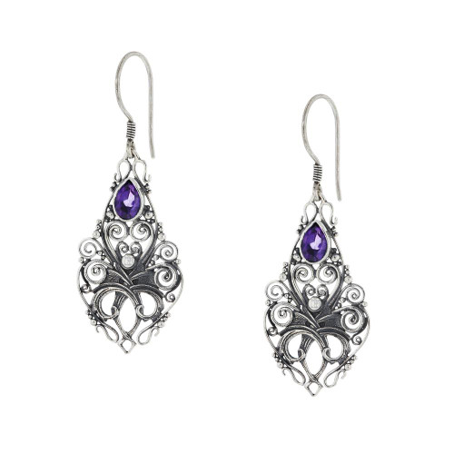 Bali 925 Silver Purple Amethyst Mystic Earrings