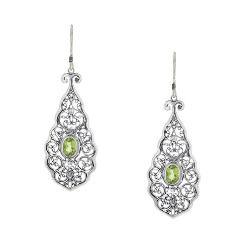 Bali 925 Silver Green Peridot Vision Earrings