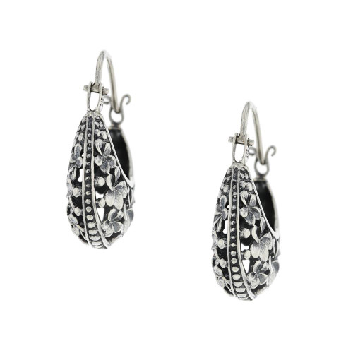 Bali 925 Silver Flora Earrings Handmade