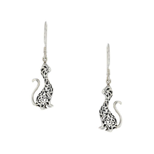 Bali 925 Silver Feline Earrings