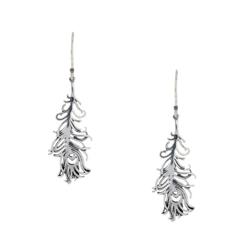 Bali 925 Silver Peacock Feather Earrings