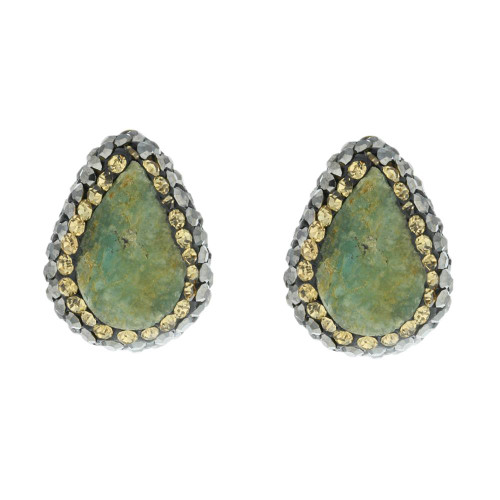 Turkish Green Gemstone Stud Earrings