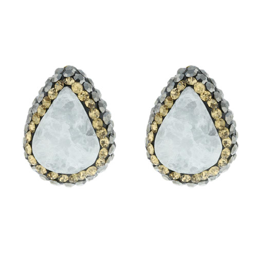 Turkish White Druzy Gold Plated Gemstone Studs