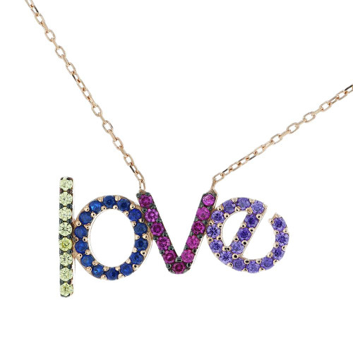 Turkish CZ Love Pendant Necklace