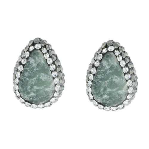 Turkish Grey Green Druzy Gemstone Studs