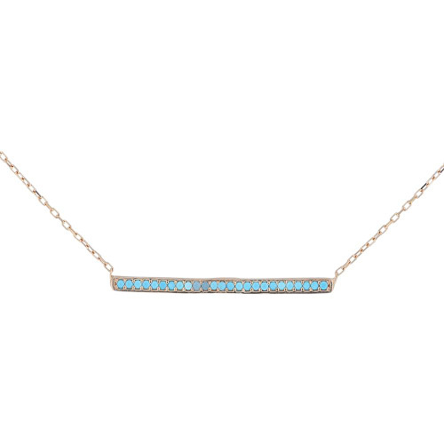 Blue Turkish CZ Bar Pendant Necklace