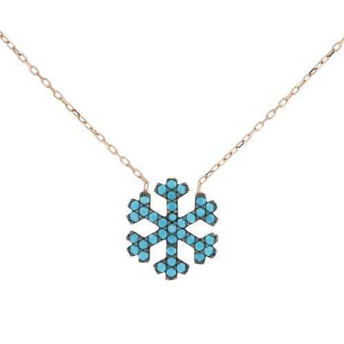 Turkish Snowflake CZ Pendant Necklace