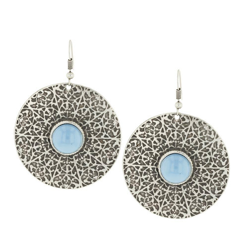 Blue Zamak Turquoise Earrings
