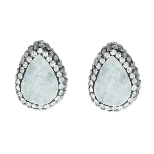 Turkish White Druzy Gemstone Studs