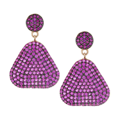 Turkish Pink Triangle Earrings