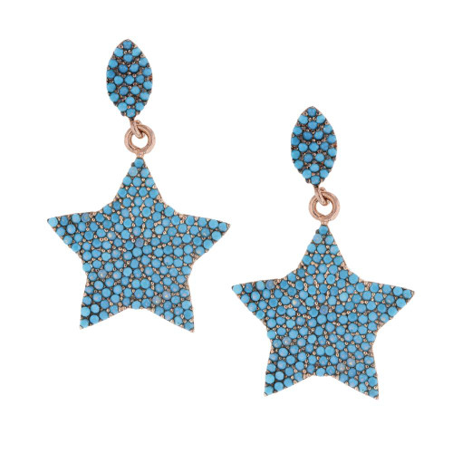 Turkish Nano Turquoise Star Earrings
