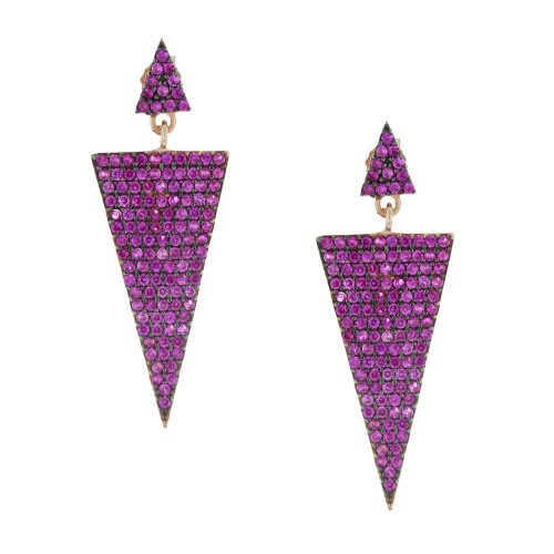 Turkish Pink Isosceles Triangle Earrings
