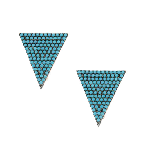 Turkish Nano Turquoise Triangle Earrings