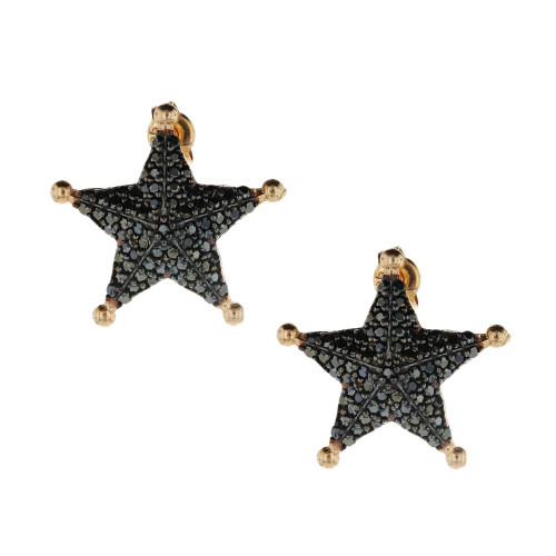 Turkish Black Star Earrings