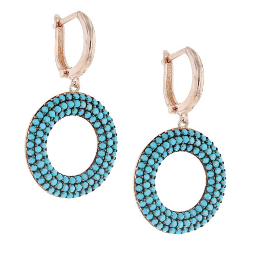 Turkish Blue Round Nano Turquoise Earrings