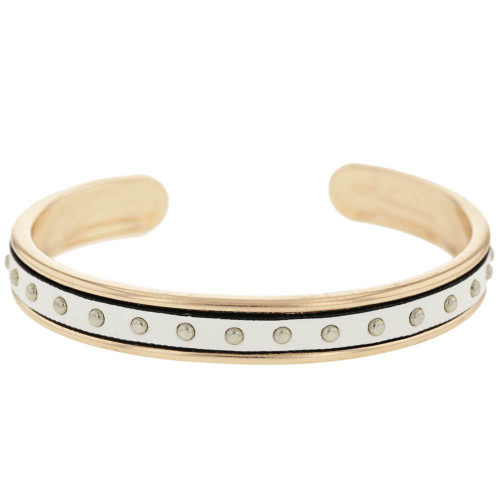 White Studded Rose Gold Plated Cuff