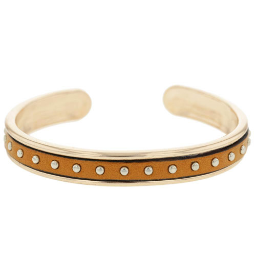 Tan Studded Rose Gold Plated Cuff