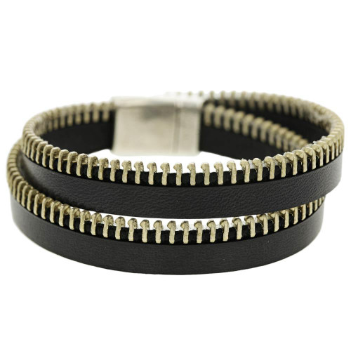Black Wrap Zipper Bracelet