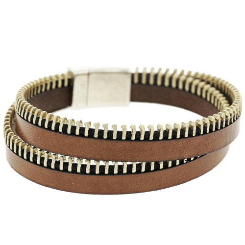 Brown Wrap Zipper Bracelet