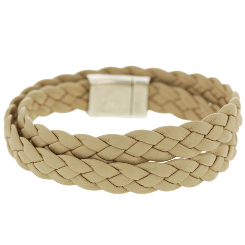 Beige Braided Wrap Bracelet