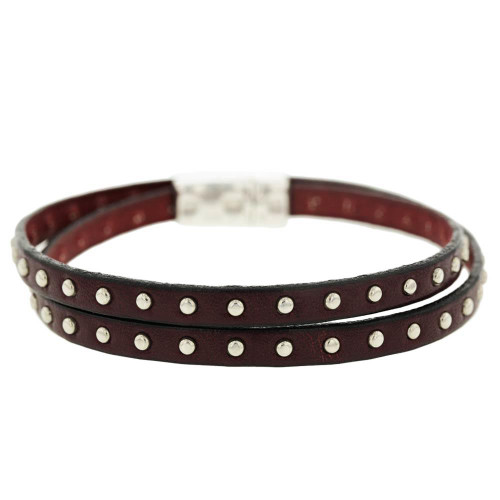 Studded Wrap Brown Bracelet